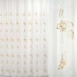 Вуаль  молочная  с  вышивкой  беж.  цвет.  и  листья