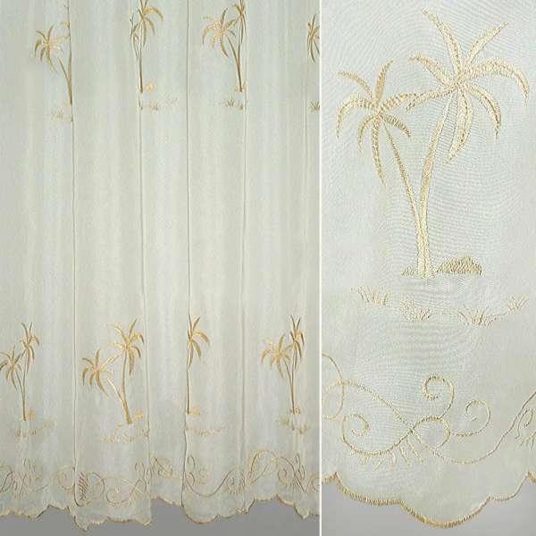 Вуаль молочная с бежевой пальмой