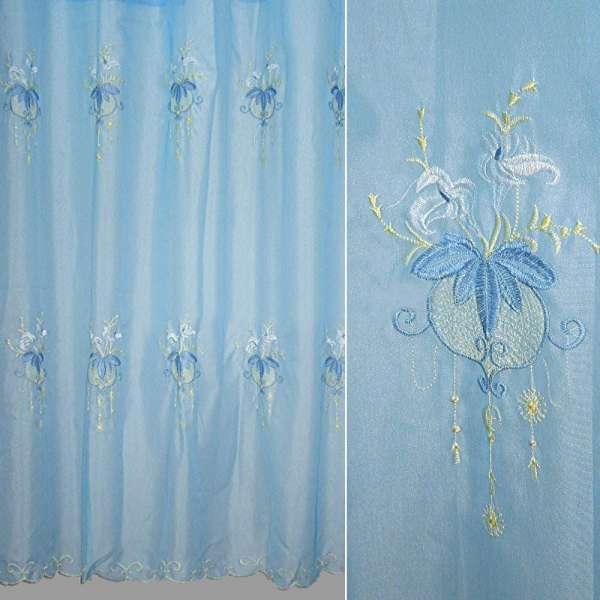 Вуаль  с  вышивкой  голубая  рис.  цветы