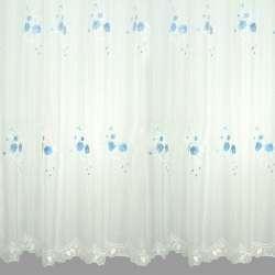 Вуаль  белая  с  вышивкой  бледно  голубой