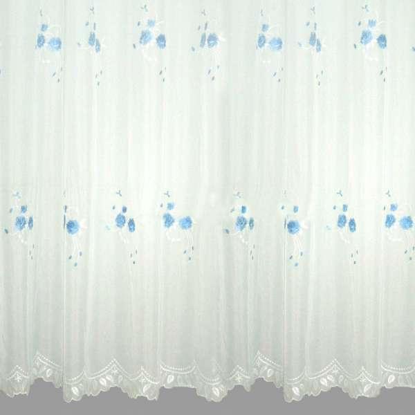 Вуаль белая со светло-голубой вышивкой