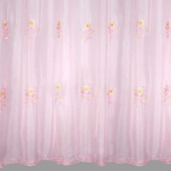 Вуаль вышитая  розовая