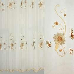 Вуаль вышитая молочная с бежево-коричневыми цветами и бабочками