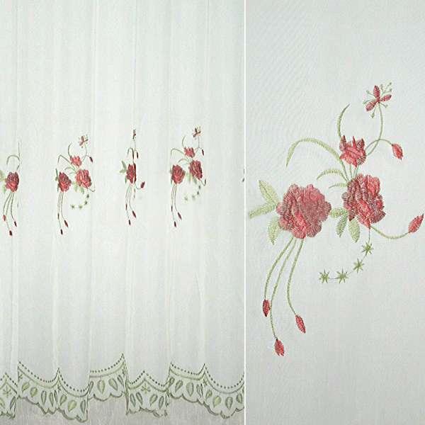 Вуаль  белая  с  вышитыми  красн.  цветами