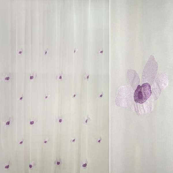 Вуаль-креш  с  вышитыми  фиолет.  цветками ш 280