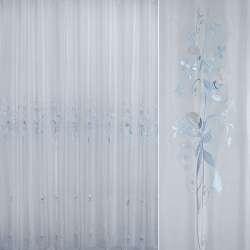 Вуаль  вышитая  с  голубыми  розочками ш 280