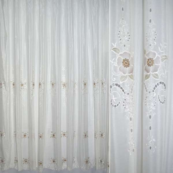 Вуаль шиття молочна з вишивкою і оздобленими квітами ш.275