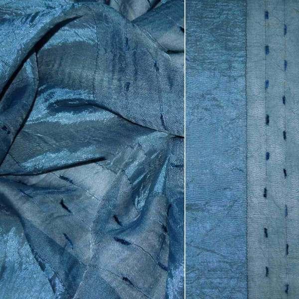 вуаль креш грязно-синяя с атлас.полосой и шинил.нитью