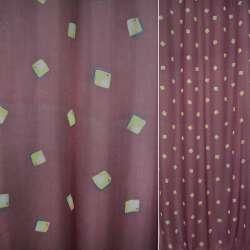 Вуаль бордовая в бежевые квадраты ш.150