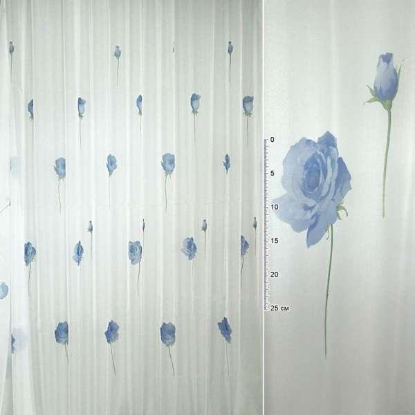 вуаль белая с синими цветами ш.275