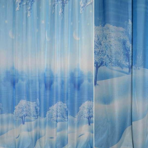 Вуаль фото голубая, зеленый лес и церковь