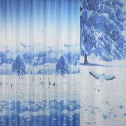 вуаль фото голубая зима, птицы  ш.270