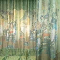 вуаль фото зелено-коричневий з китайськими дівчатами ш275