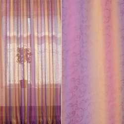 """Вуаль сиренево-оранжево-коричневая """"радуга"""" с лазерным рисунком ш.280"""