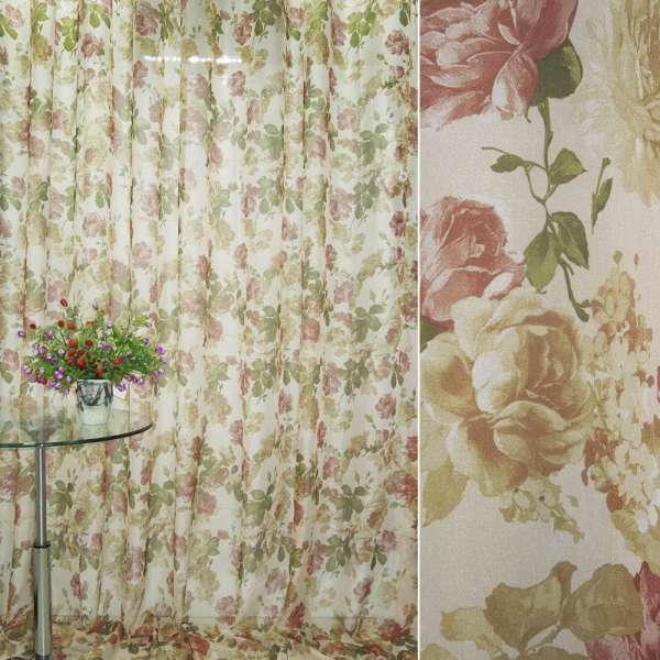 Вуаль бежево-золотистый с коричнево-бордовыми цветами ш.270