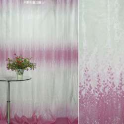 Органза Деваре белая с розовым купоном веточки ш.275