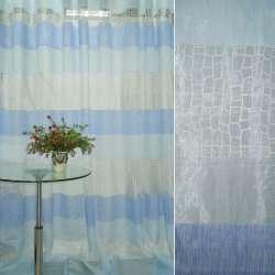 Органза деворе в бело-синие, голубые полоски ш.280