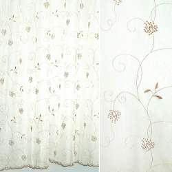 Вуаль белая с коричневой вышивкой