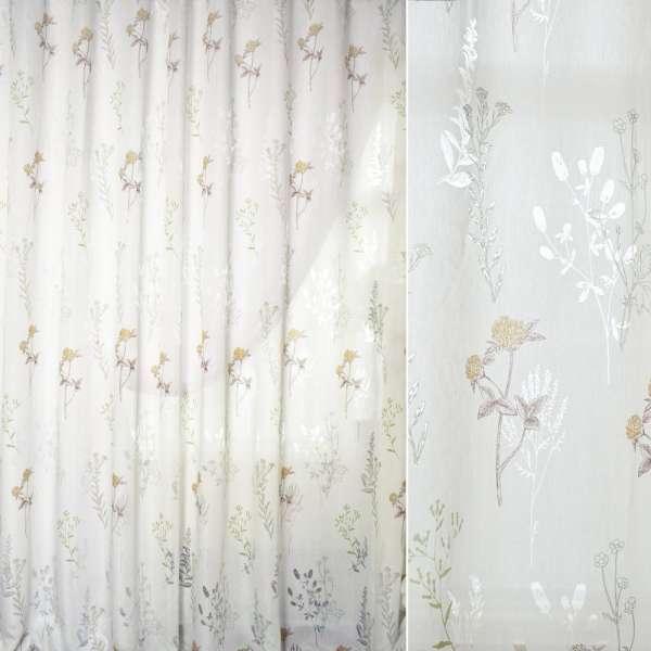 Батист Девора білий в зелено-коричневі гілки і квіти ш.280