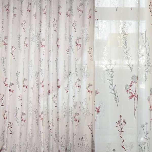 Батист деворе белый в бордово-серые ветки и цветы ш.280