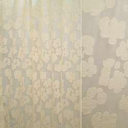 Органза бежевая в атласные бежевые цветы ш.250