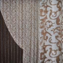 Органза орари коричневая светлая с вензелями ш.280