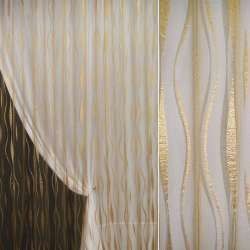 Органза орари золото темное с вьющимися полосами ш.280