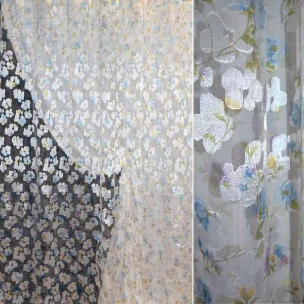 """Органза белая """"орари"""" с голубыми цветами (штамп) ш.275"""