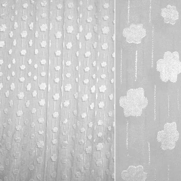органза-орари белая с цветами и серебр. блестками ш.280
