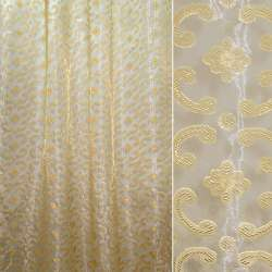 Органза орари золотистая с цветами и завитками ш.280