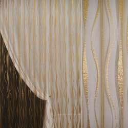 """органза """"орари"""" темное золото с вьющ. полосами ш.275"""