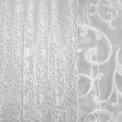 органза-орари молочная с вензелями и серебр.люрексом ш.280