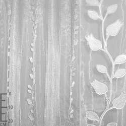 Органза орари белая в серебристо-белую полоску и ветки ш.280