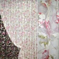 органза-орари кремов. с вишнево-белыми цветами ш.275