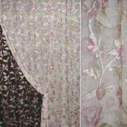 органза-орарем кремів. з рожево-білими квітами ш.275