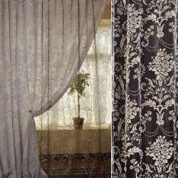 Органза деворе черная в бежевый цветочный узор ш.280