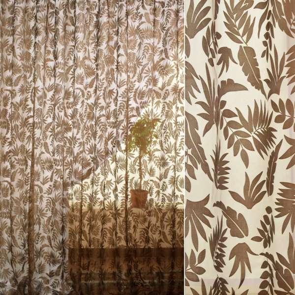 Органза деваре коричневая в листья ш.280