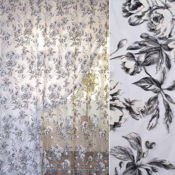 Органза Девар біла в сіро-білі троянди ш.280