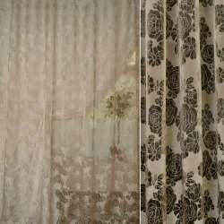 Органза деворе бежево-коричневая в ромашки и розы ш.280