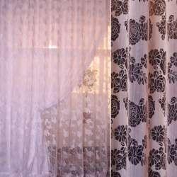 Органза деворе розовая в ромашки и розы ш. 280