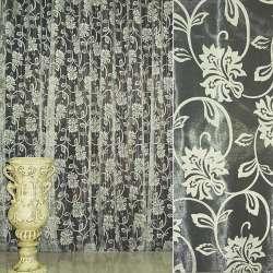 Органза деворе кремовая с вьющимися цветами ш.280