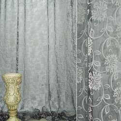Органза деворе черная с серебристыми вьющимися цветами ш.280