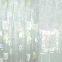 Органза деворе белая с зеленым и голубым абстрактным рисунком
