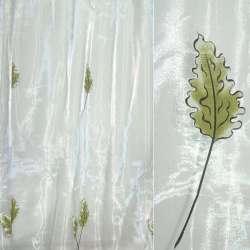 Органза деворе белая с дубовыми листьями