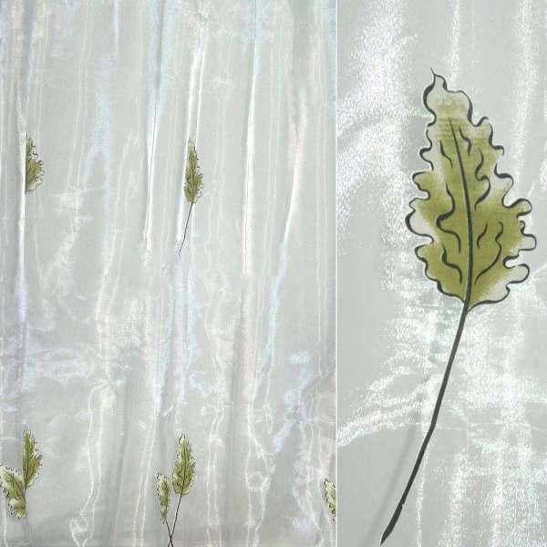 """Органза  """"Деваре""""  белая  с  дубов.  листьями"""