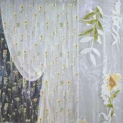 Органза деворе белая с цветами и листьями ш.270