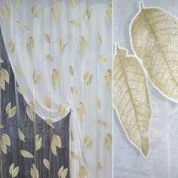 Органза деворе белая с коричневыми листьями ш.270