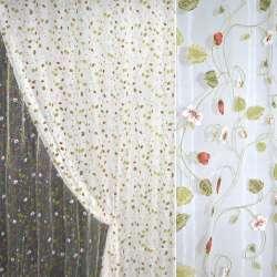 Органза деворе белая с красно-белыми цветами, ш.280