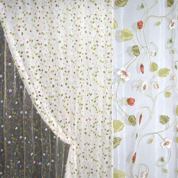 органза Девар біла з червоно-білий. квітами, ш.280