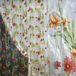 Органза деворе зеленая светлая в красно-желтые цветы ш.270